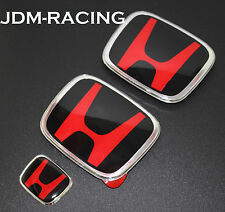 3PCS JDM HONDA CIVIC FRONT+REAR+STEERING WHEEL RED H EMBLEM 12-16 COUPE SI DX LX
