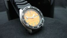 Vintage Seiko divers watch 6309 Auto DAY Date Mod ORANGE DIAL BLACK BEZEL K23.