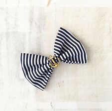 Navy Blue & white stripe nautical sailor hair bow clip with gold vintage anchor