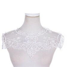 Lace Charming Blumen Kragen Trim weiß Polyester Nähen Applique Crafts AB