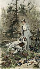 ENGLISH SETTER DOG FINE ART ENGRAVING PRINT Arthur Wardle King Charles Spaniel