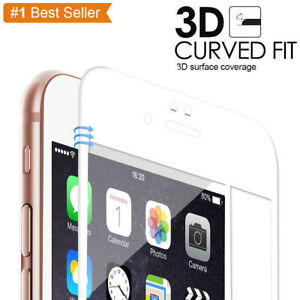 For iPhone 6s 6 3D White Carbon Fiber Tempered Glass Screen Protector Full Cover