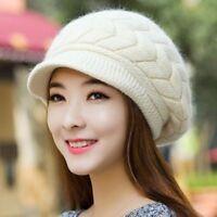 Winter Hats Warm Beanies Fleece Inside Knitted Womans Rabbit Fur Skullies Caps