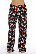 Women's Plush Pajama Pants Plus Size Pajamas PJ Black Santa Skull 3X Plus