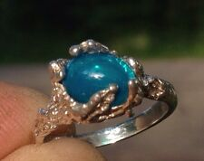 NEW Sterling Silver NUGGET RING with 9x7mm Pariaba Neon Blue Ethiopian Fire Opal
