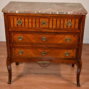 1880 Antique French Louis XV Walnut & Satinwood inlay Marble top Commode dresser