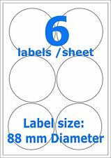 Round Sticky A4 Printer Circle 6 Labels 88mm Diameter 500 sheets self adhesive
