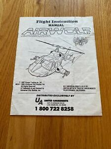 Airwolf Video Arcade Game Flight Instruction Manual, Kyuga 1987