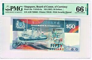Singapore: 50 Dollars ND (1987) Pick 22a, TAN#S-5a. PMG Gem Uncirculated 66 EPQ.
