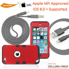 iPod Touch 5 itouch 5th Gen MFI Lightning Cable+Shockproof Hybrid Soft Case+Film