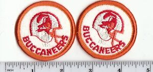 """Set of 2 Vintage 1980s Tampa Bay Buccaneers 2"""" Round Patch Old Logo Throwback"""