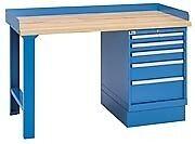 "LISTA XSWB20-60BT 60"" x 30"" Industrial Workbench,1 Cabinet,5 Drawers,Butcher Blo"