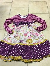 Jelly The Pug Pink/purple Striped/floral Ruffle Dress, Girls Size 10
