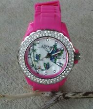 Ed Hardy Butterfly Swarovski Crystals Mother Of Pearl Dial Pink Silicone Watch