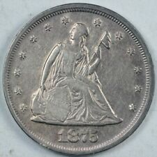 1875 20c Seated Liberty Silver Twenty Cent Piece Coin AU About Uncirculated