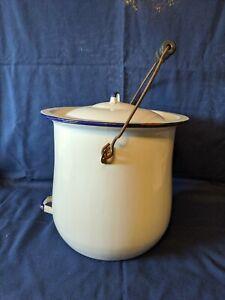 Vintage White Enamel Chamber Pot