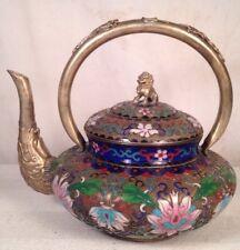 Antique Openwork Cloisonne Asian Teapot 20C
