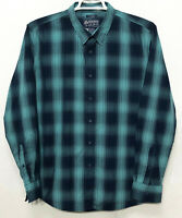 Mens American Rag XL Green Blue Plaid Long Sleeve Button Front Shirt Cotton