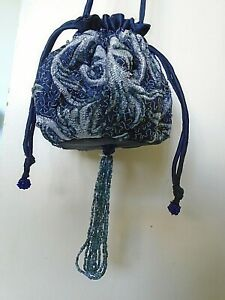Vintage Evening Bag - Black & Silver - Drawstring - Bead Tassels - pre-owned
