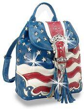 Rhinestone Accent  Blue Trim Stars and Stripes  Layered Drawstring Backpack
