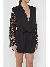 Nana Judy Australian Black Lace Gypset Long Sleeve Playsuit 8 NEW