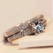 925 Silver Wedding Band Engagement Rings Set Women size6