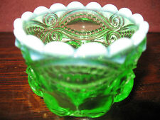 Green Opalescent glass salt dip cellar celt eyewinker pattern candle holder mint