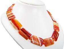 Schöne Edelsteinkette aus Aprikosen-Achat in Rechteckform L-48cm