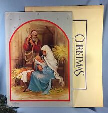 "NEW Vintage Large Advent Calendar + Envelope: 13 1/2"" England: Jesus Manger. #H"