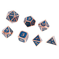 7X Alloy Dice 12mm Polyhedral D4-D20 Set for Dungeons & Dragons Games Blue A
