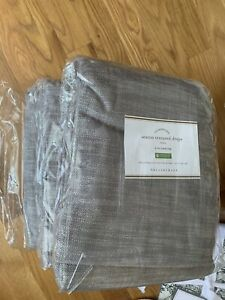2PC New Pottery Barn Seaton Textured cotton drape curtain panels 50x96, gray