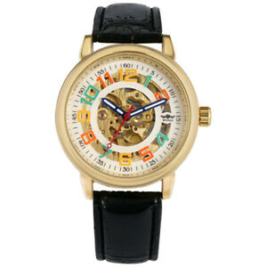 Winner Automatic Mechanical Watch for Men Skeleton Watches Leather Band Bangle