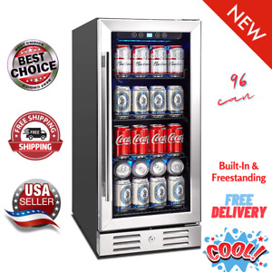 """Kalamera 15"""" Beverage Cooler 96 can Built-in or Freestanding Touch Control⭐⭐⭐⭐⭐"""