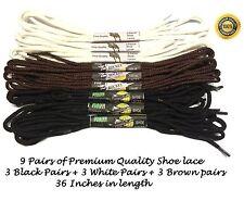 9 Coppie di Lacci per le scarpe/Stivali da ginnastica cotone tondo nero
