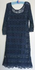 Dream Diva Blue Crochet Dress Size 16 Festival Boho inc Slip RRP $129