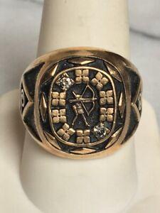 MEN'S YELLOW GOLD & DIAMOND ARCHER SAGITTARIUS SIGNET RING SIZE 10,15.8 GRAMS!!!