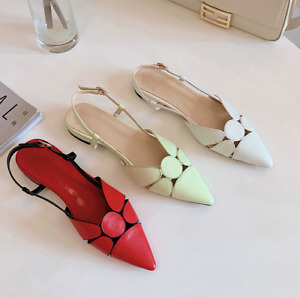 Womens Pointy Toe Slingback Flats Buckle Strap Shoes Sandals Summer Simple Pumps