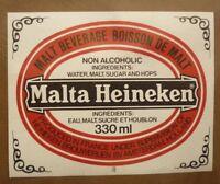 OLD 1970s FRENCH BEER LABEL, HEINEKEN BIERE FRANCE,  MALTA HEINEKEN 3