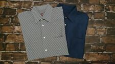 Lot of 2 Bugatchi Uomo Rayon Blend Long Sleeve Button Up Shirts Size L