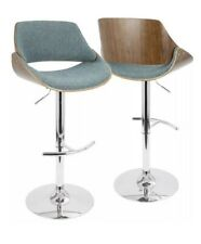 NEW Fabrizzi Mid-Century Modern Adjustable Barstool w/ Swivel Walnut and Blue