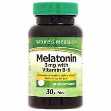 30 ct Nature's Measure Melatonin 3 mg with B-6 US Seller *Free Shipping*