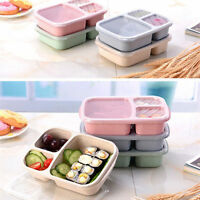1PC Wheat Straw Lunch Box Plastic Natural 3 Grid Portable Food Storage Container