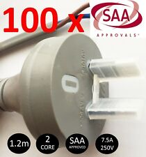 100 x PREMIUM 2 Core 2 Pin Electrical Flex Plug and Lead AC Cable 1.2M Grey 10A