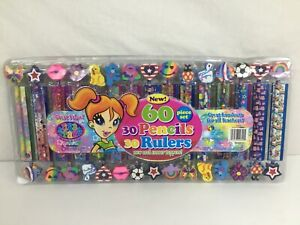 LISA FRANK 60 Piece Set 30 Pencils w/Jumbo Eraser Toppers & 30 Rulers