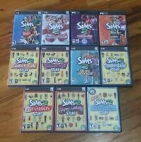 Lot of 11 The Sims 2 PC/Mac Computer Games & Expansion Packs All Cases