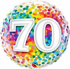 """Qualatex Confettis Arc-en-ciel Age 70/70th Anniversaire 18"""" Ballon plat"""