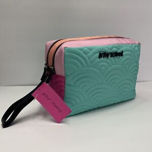 Betsey Johnson Embroidered Double Zip Cosmetic Travel Bag Double Entry Pastel NW
