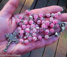 Pink Clear Crackle glass bead rosary catholic handmade prayer filigree Tibet