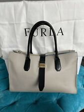 Furla Flair Grey Leather Large Tote Bag With W/ turnlock And Black Handles