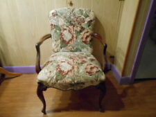 Vintage French Louis Floral Tapestry Studded Accent Armchair, circa 1900